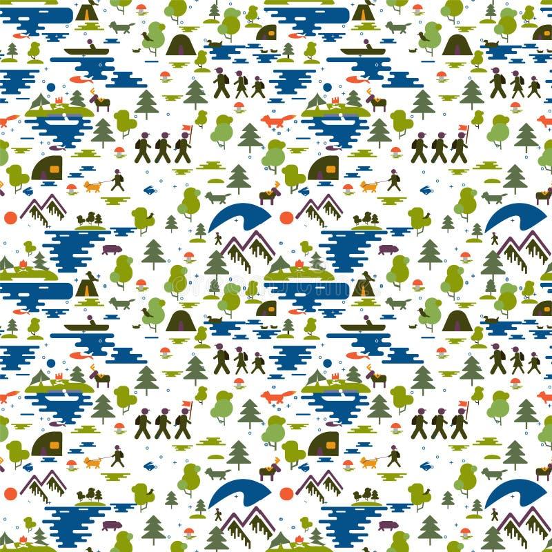 картина безшовная Значки туризма в природе, семья идут на поход, экологический туризм, рыболова в шлюпке, природе печатают: гора бесплатная иллюстрация