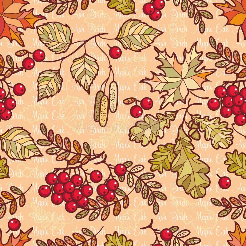 картина безшовная лиственно Орнамент лист осени Forrest густолиственное иллюстрация вектора