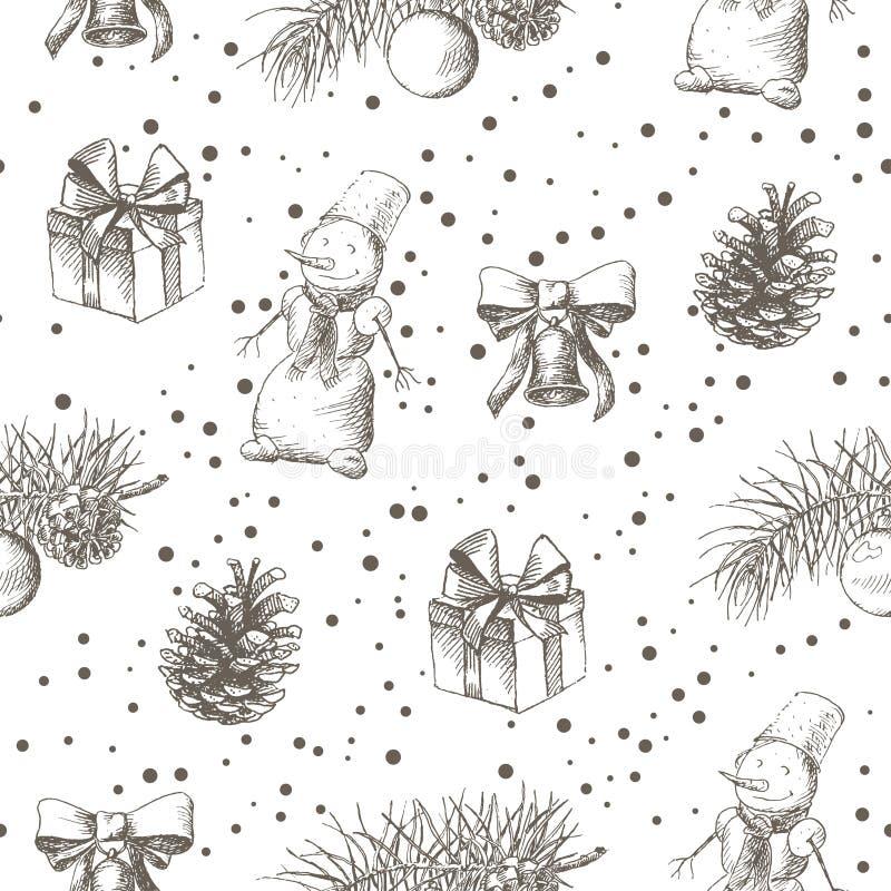 Картина безшовная, иллюстрация рождества эскиза чертежа руки бесплатная иллюстрация