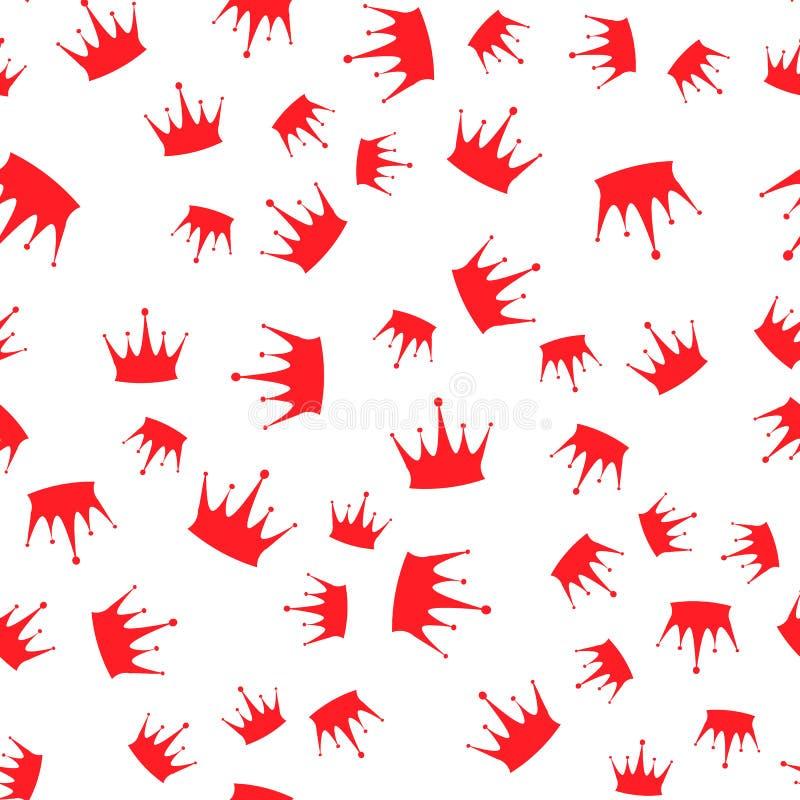картина безшовная Красные силуэты крон на белой предпосылке иллюстрация штока