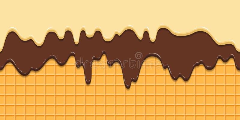 картина безшовная Настоящие замороженность и шоколад на waffle текстурируют предпосылку, конус waffle с мороженым шарж иллюстрация штока