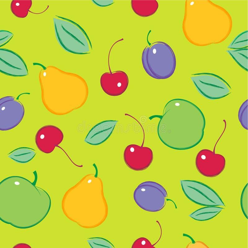 картина безшовная Картина плодоовощ и ягод предпосылка fruits зрело иллюстрация вектора