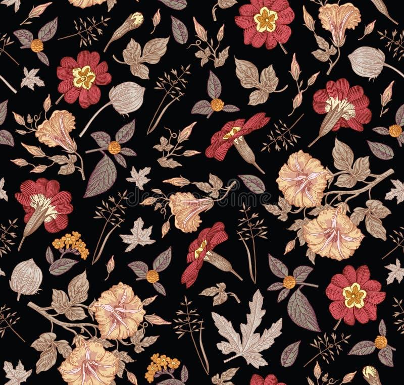 картина безшовная Реалистические изолированные цветки Винтажный вектор гравировки чертежа hibisc primavera петуньи предпосылки