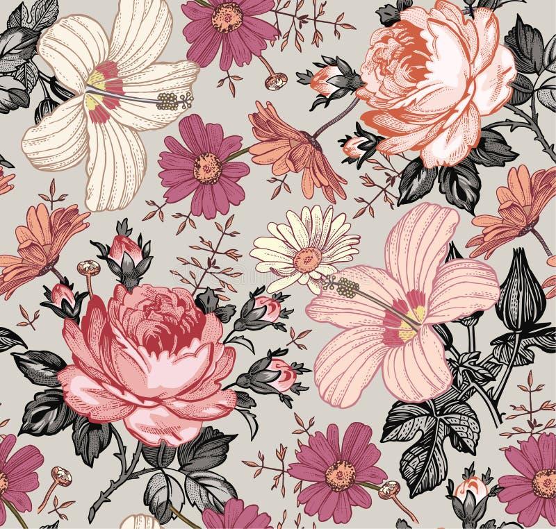 картина безшовная Реалистические изолированные цветки сбор винограда бумаги орнамента предпосылки геометрический старый Просвирни иллюстрация штока