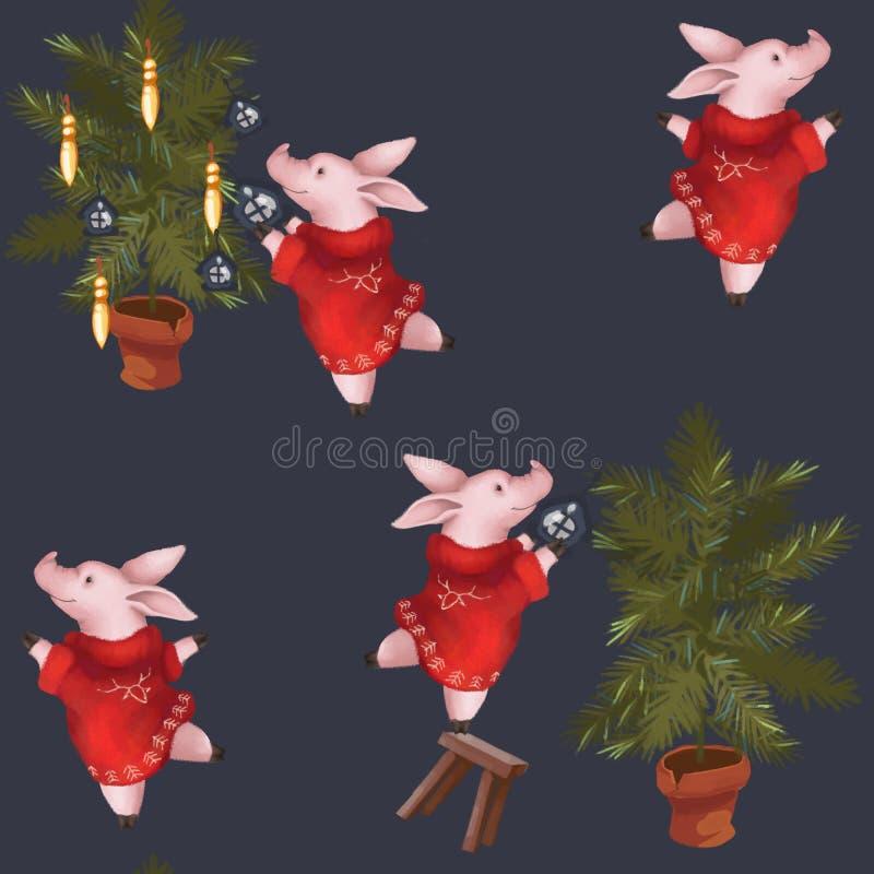 картина безшовная Символ свиньи года 2019 украшает рождественскую елку Новый Год на голубой предпосылке иллюстрация вектора