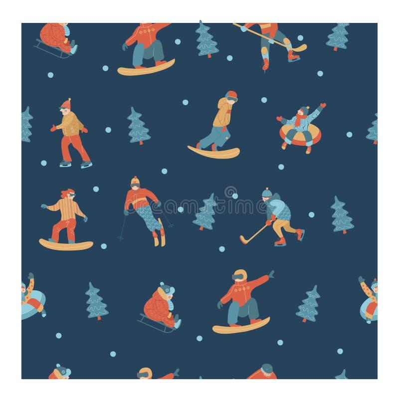 картина безшовная счастливое Новый Год также вектор иллюстрации притяжки corel Набор характеров принимался за спорт и воссоздание бесплатная иллюстрация