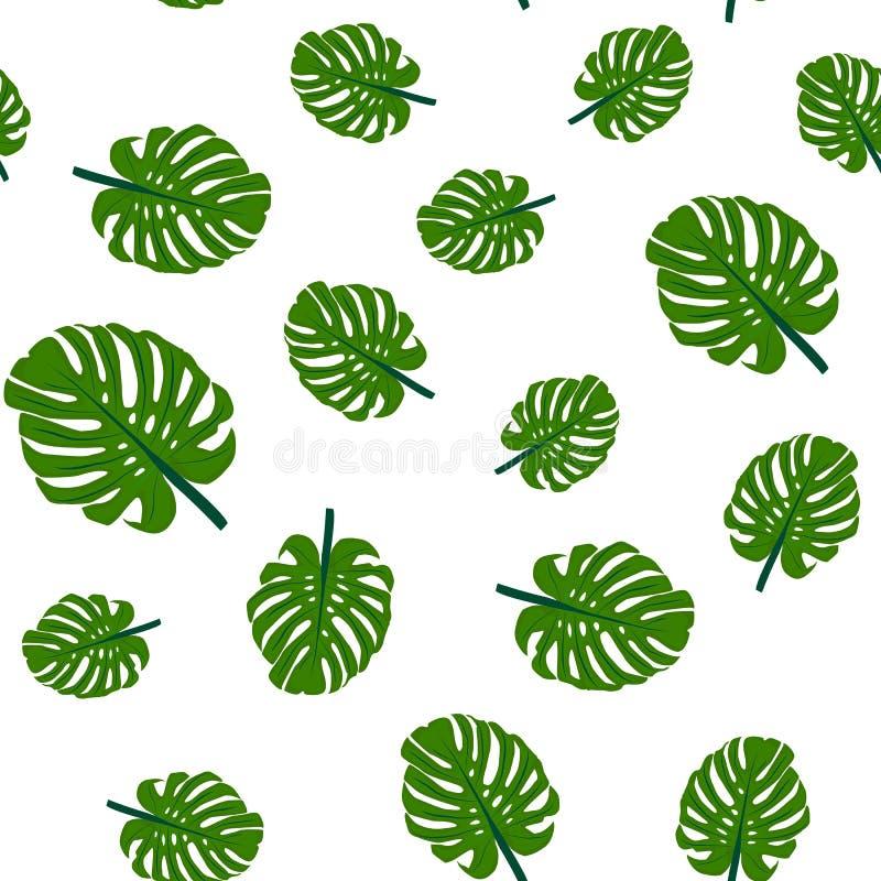 картина безшовная Тропический зеленый изолят листьев на белой предпосылке иллюстрация штока