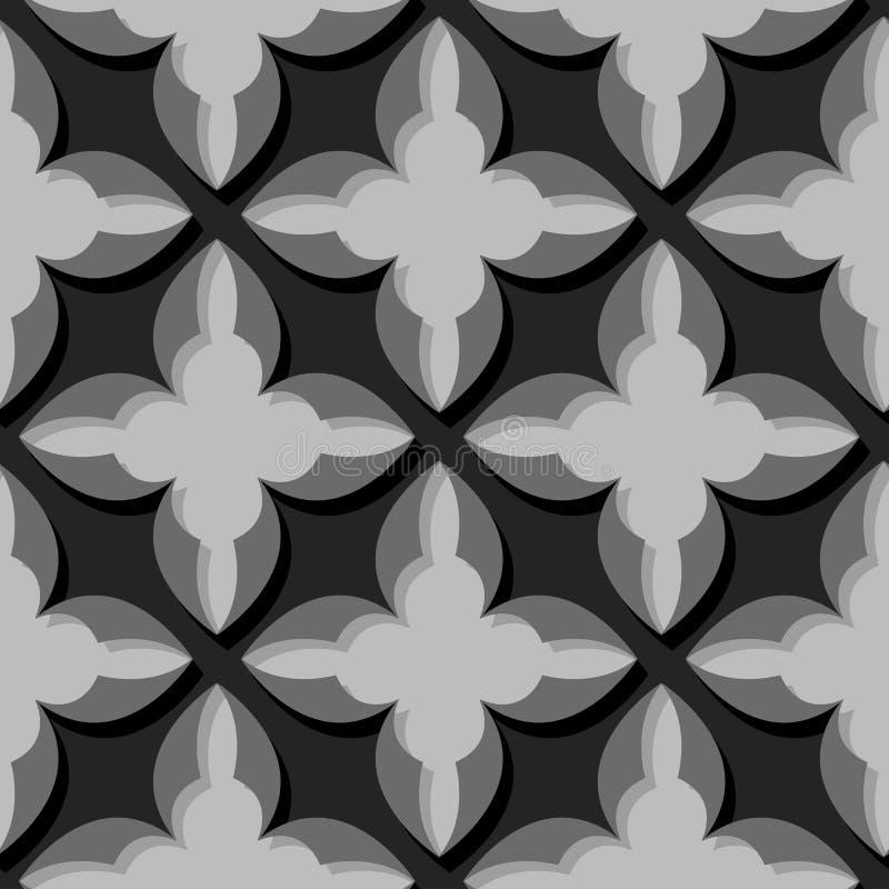 картина безшовная Флористическая черная и серая предпосылка 3d иллюстрация штока