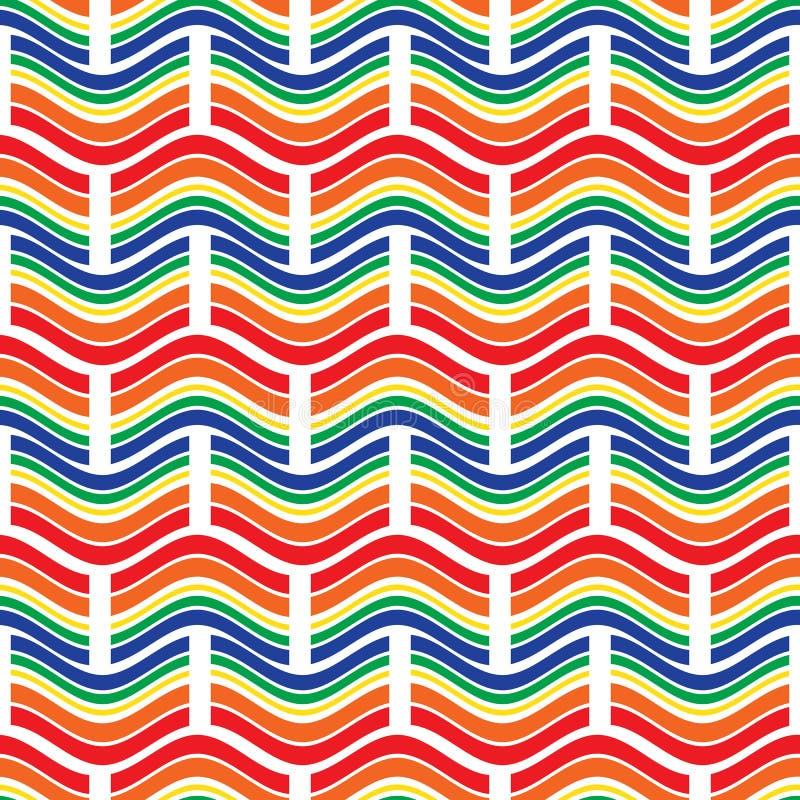 картина безшовная Яркий геометрический орнамент с волнами и прямоугольниками бесплатная иллюстрация