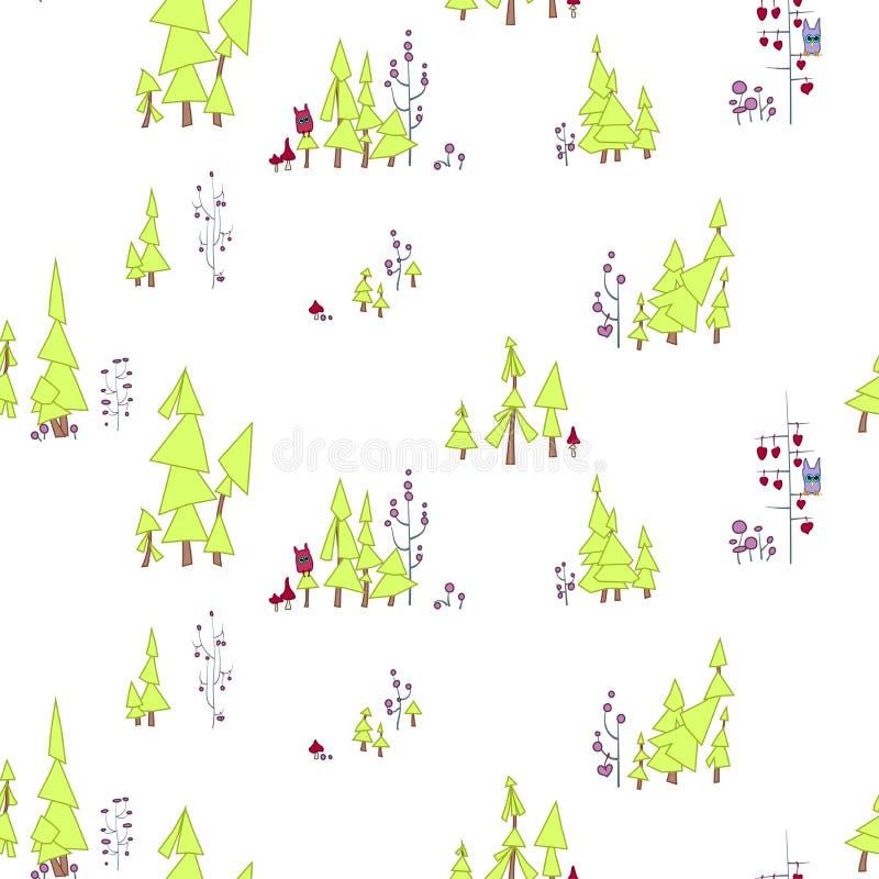 картина безшовная Fairy лес с сычами и извергами На иллюстрации сосны, разветвленные деревья с кругами и p иллюстрация вектора