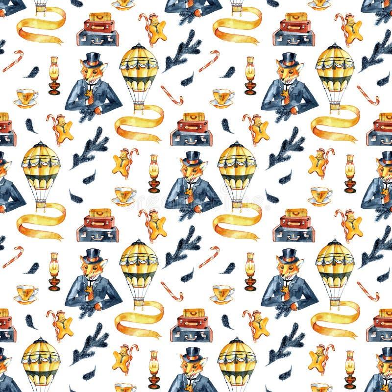 картина безшовная Fox рождества в костюме и верхней шляпе Рождество джентльмена Винтажный стиль, старая Англия, steampunk иллюстрация штока