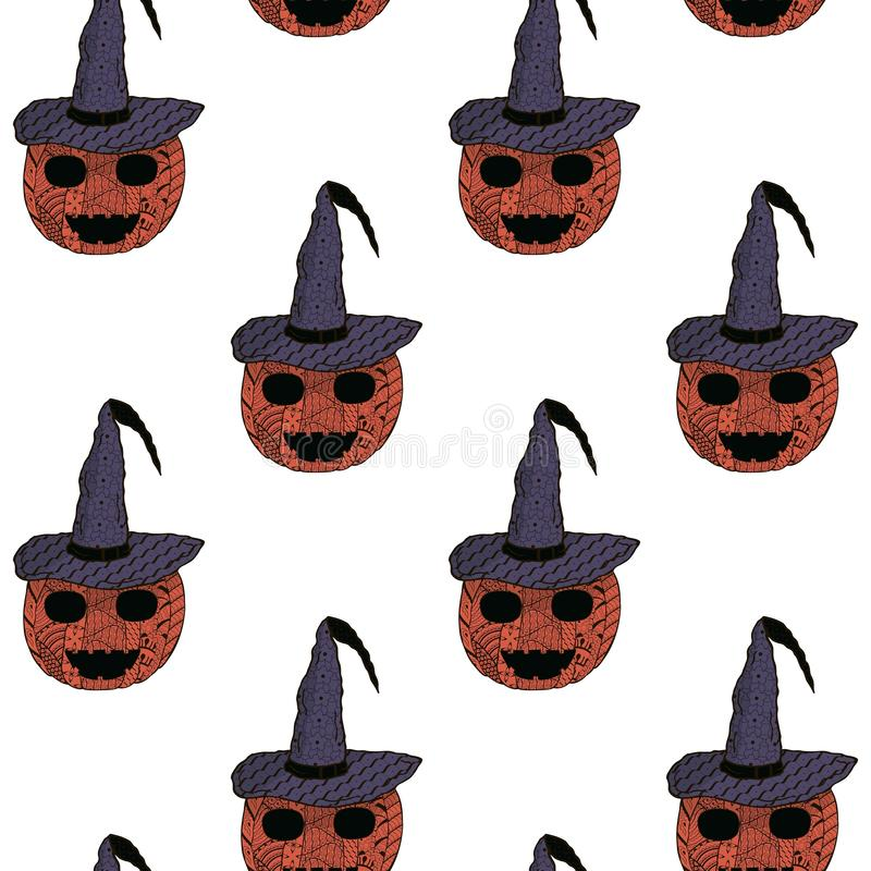 картина безшовная halloween Усмехаясь тыквы в крышке ` s ведьмы с картинами в стиле Zenart иллюстрация штока