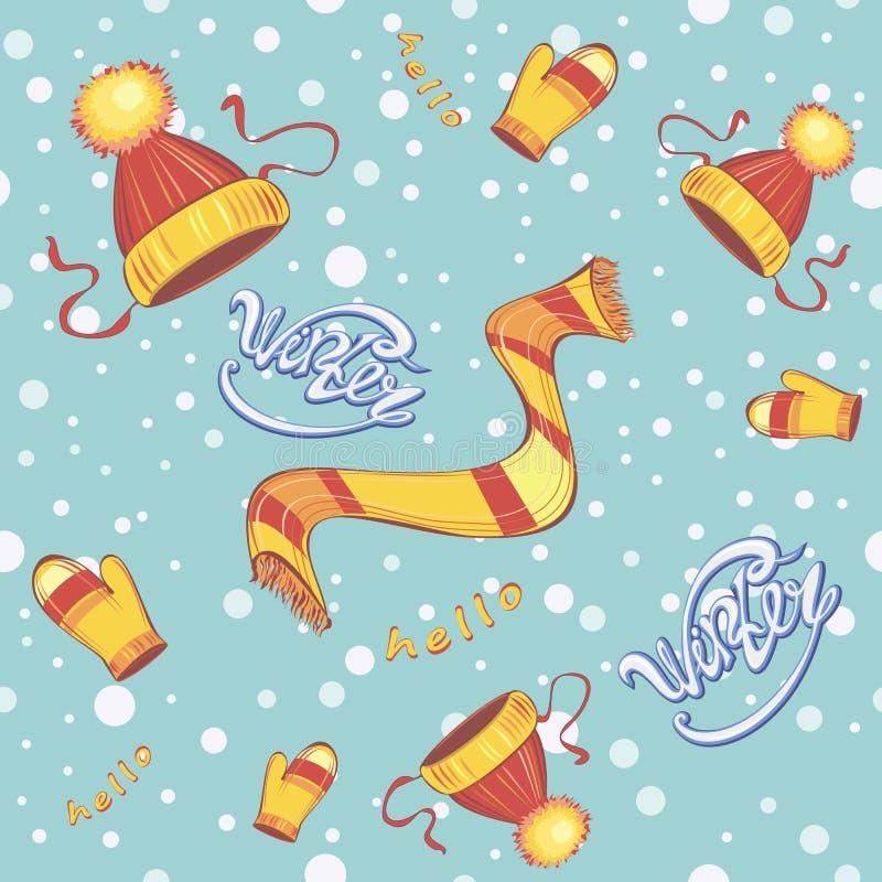 картина безшовная Mittens шарфа крышки Одежда ` s детей зимы снежинки зима снежка дороги предпосылки Здравствуйте! зима литерност бесплатная иллюстрация
