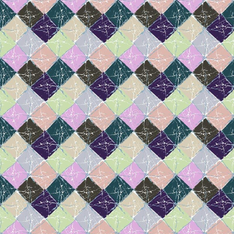 Картина безшовного абстрактного multicolor grunge геометрическая checkered иллюстрация вектора