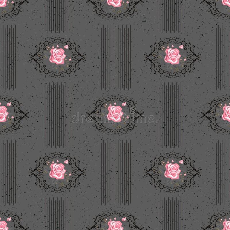 Картина безшовного вектора винтажная с викторианским букетом красных цветков на черной предпосылке Белые розы, тюльпаны, delphini бесплатная иллюстрация