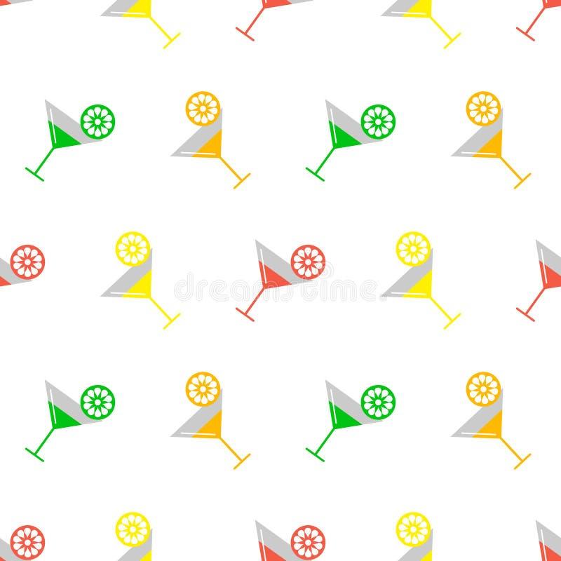 Картина безшовного вектора красочная с coctails и кусками апельсина, известки и лимона на белой предпосылке иллюстрация вектора