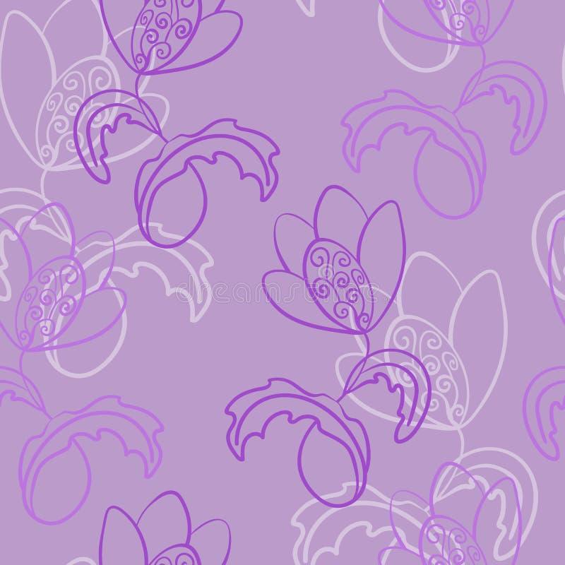 Картина безшовного вектора множественная Фантазия, фантастический цветок со скручиваемостями Часто повторенный в одном направлени иллюстрация штока