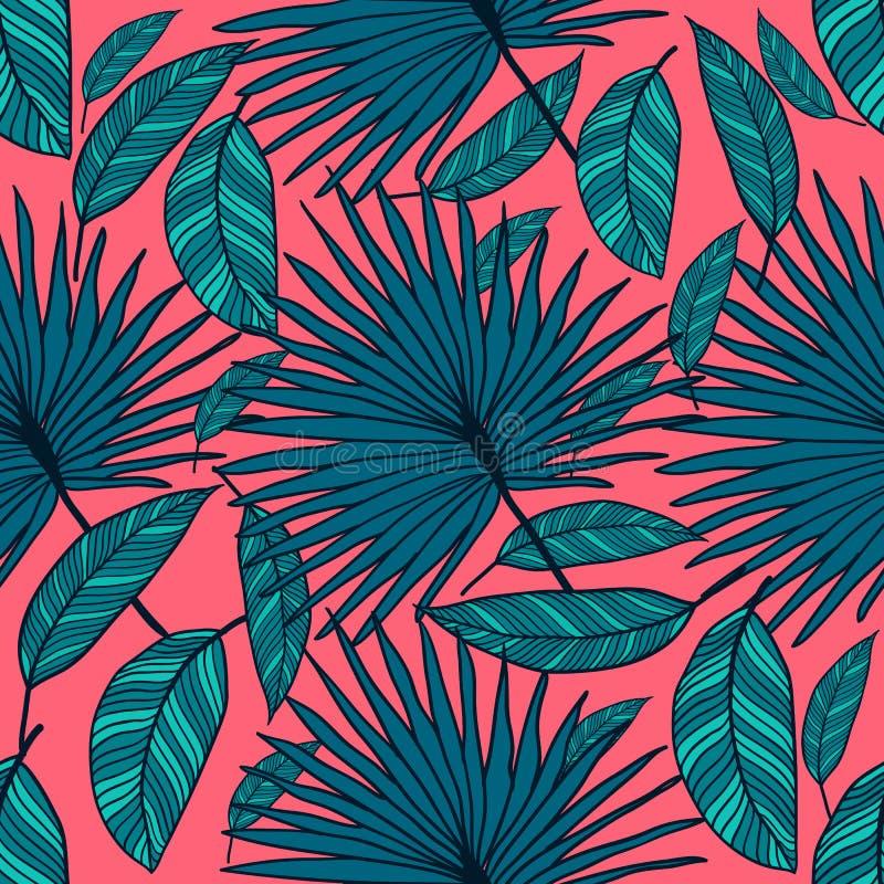 Картина безшовного вектора тропическая Тропические листья цвета, листья джунглей иллюстрация вектора