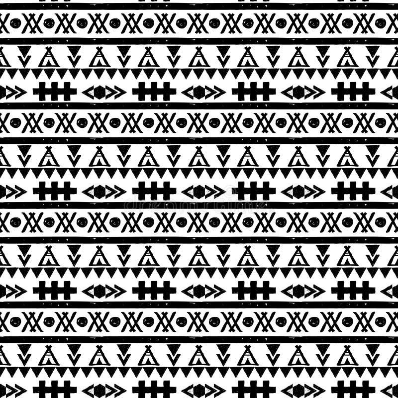 Картина безшовного вектора черно-белая иллюстрация вектора