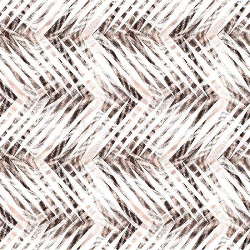 Картина безшовного конспекта геометрическая текстурированная Белый, коричневый орнамент иллюстрация штока