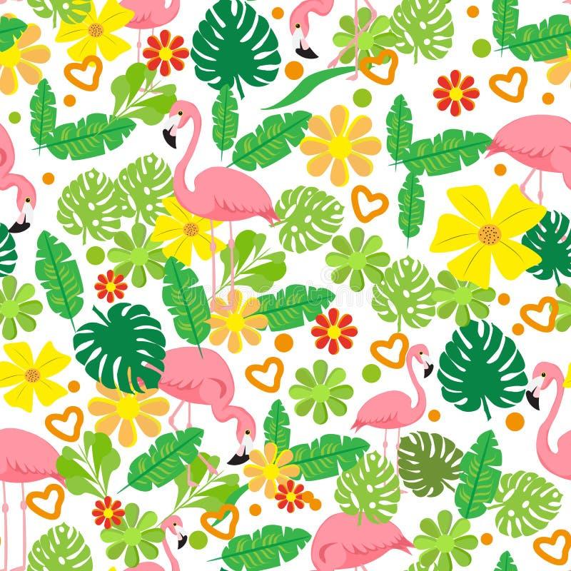 Картина безшовного лета тропическая с фламинго, экзотическими цветками, предпосылкой вектора листьев Хороший для обоев, предпосыл бесплатная иллюстрация