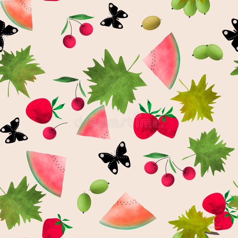 Картина безшовного мультфильма акварели ягод плодов милая темная иллюстрация вектора