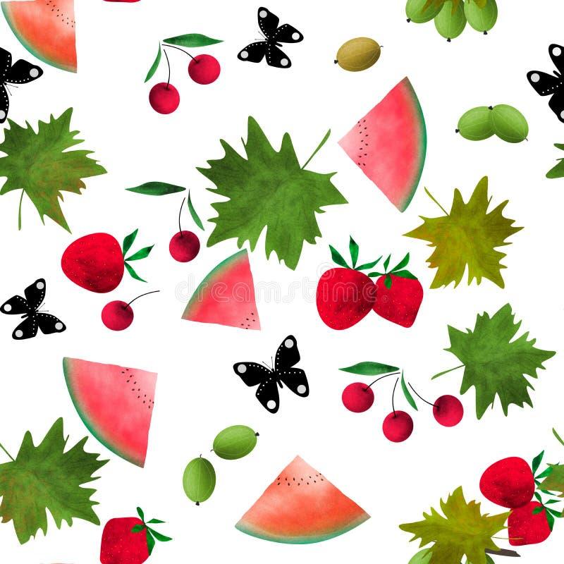 Картина безшовного мультфильма акварели ягод плодов милая бесплатная иллюстрация