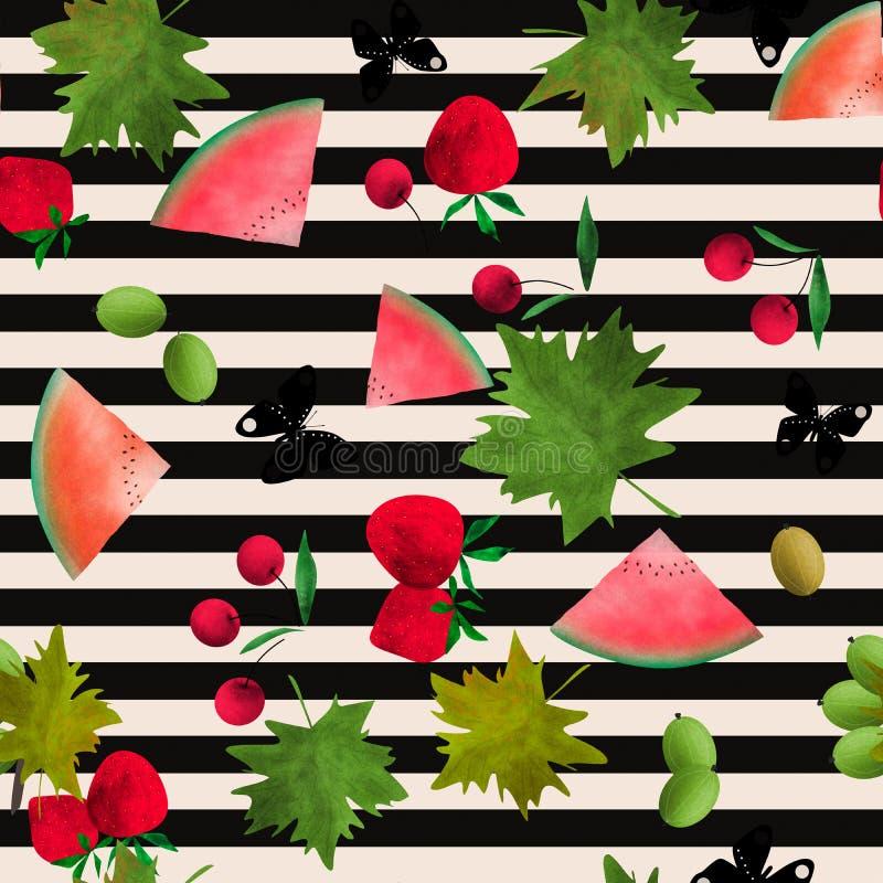Картина безшовного мультфильма акварели ягод плодов Striped иллюстрация штока