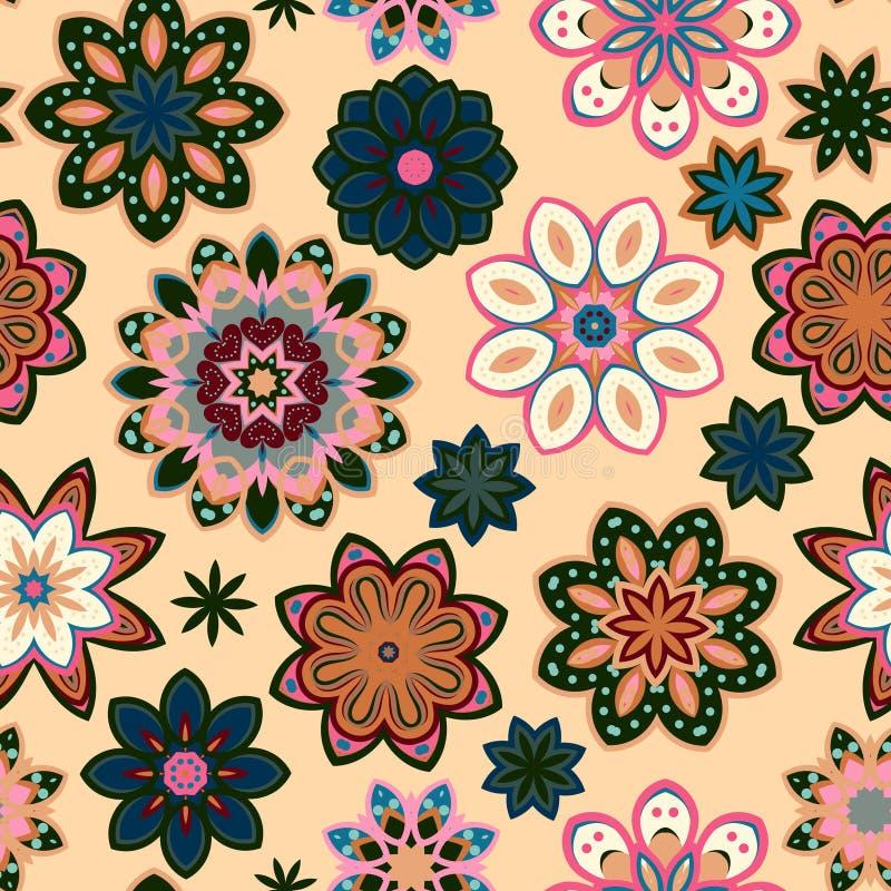 Картина безшовного цветка ретро в векторе Зеленые розовые цветки на бежевой предпосылке бесплатная иллюстрация