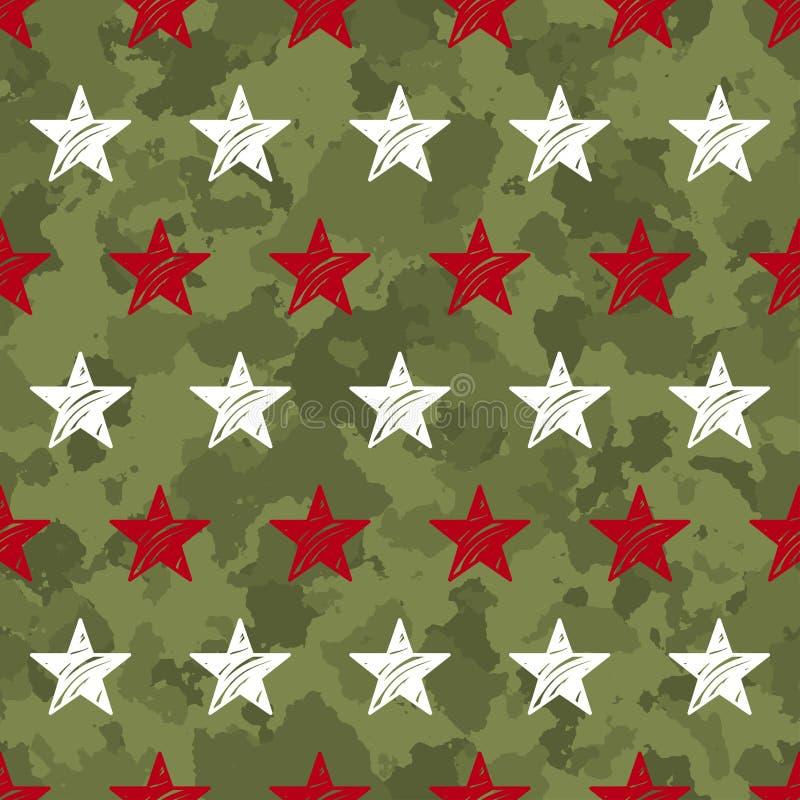 картина безшовного grunge воинская с звездами иллюстрация вектора