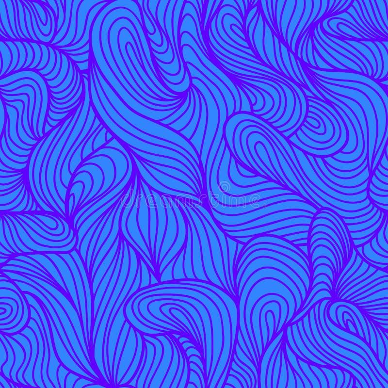 Картина безшовной абстрактной голубой руки вычерченная, предпосылка волн Цвет курчавой картины пряжи ультрафиолетов иллюстрация штока