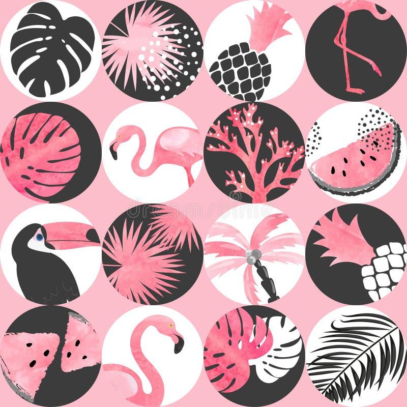 Картина безшовной акварели конспекта тропическая Предпосылка вектора ультрамодная с фламинго иллюстрация штока