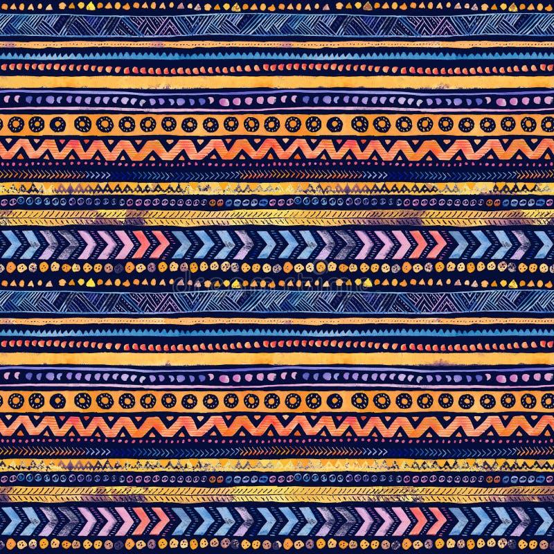 Картина безшовной акварели этническая племенная орнаментальная - темные синь военно-морского флота и оранжевый иллюстрация вектора