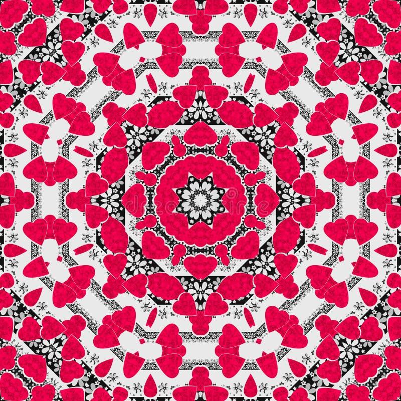 Картина безшовных абстрактных сердец мандалы яркая круглая орнаментальная бесплатная иллюстрация