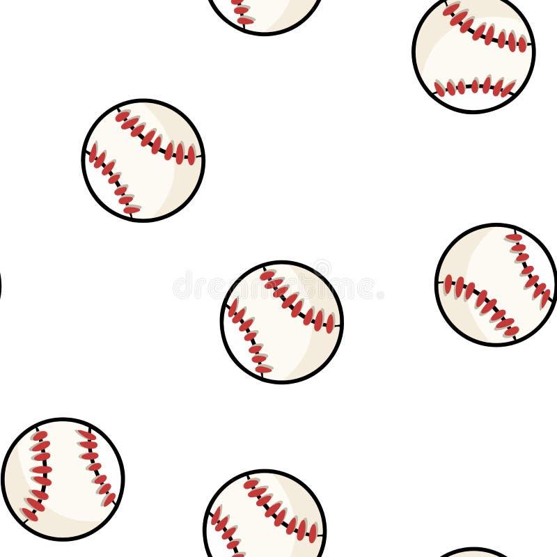 Картина бейсбола безшовная Плитка текстуры предпосылки бейсболов милой руки doodle вычерченная иллюстрация вектора