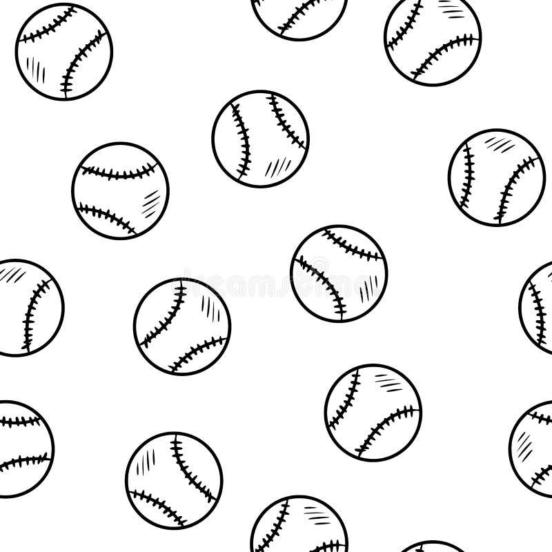 Картина бейсбола безшовная Плитка текстуры предпосылки бейсболов милой руки doodle вычерченная иллюстрация штока
