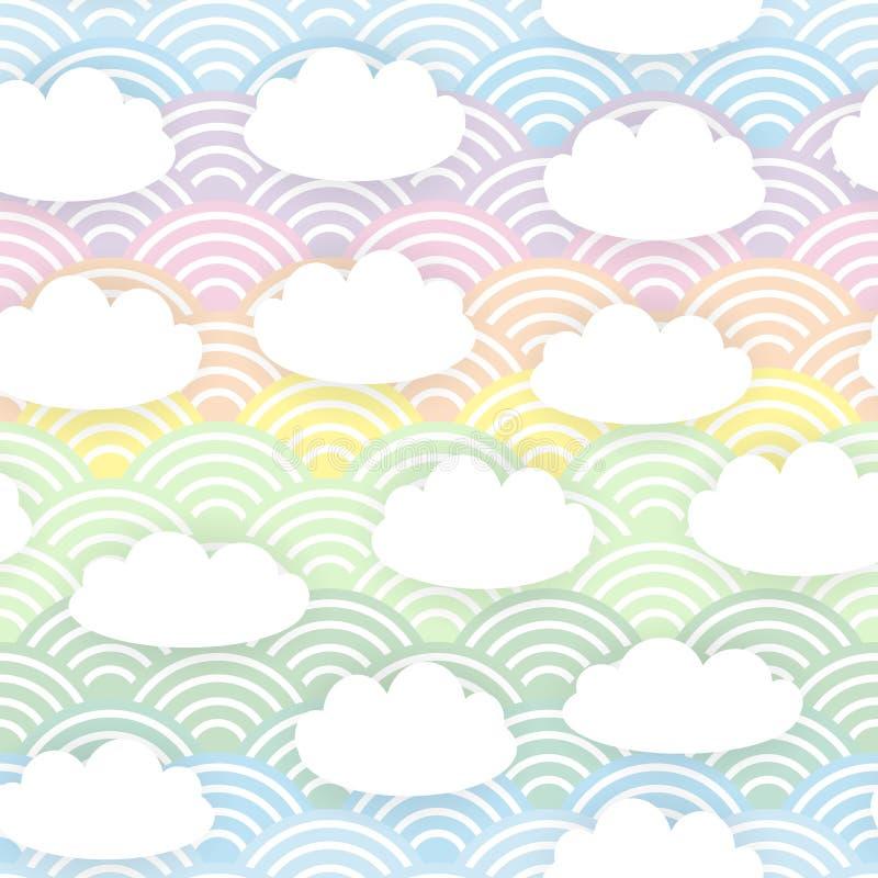 Картина белых облаков Kawaii безшовная на предпосылке радуги волны голубой сирени пинка мяты оранжевой японской вектор иллюстрация штока