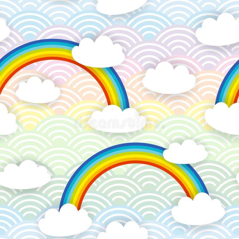 Картина белых облаков Kawaii безшовная на предпосылке радуги волны голубой сирени пинка мяты оранжевой японской вектор иллюстрация вектора