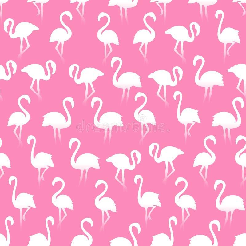 Картина белых силуэтов фламинго безшовная на розовой предпосылке иллюстрация вектора