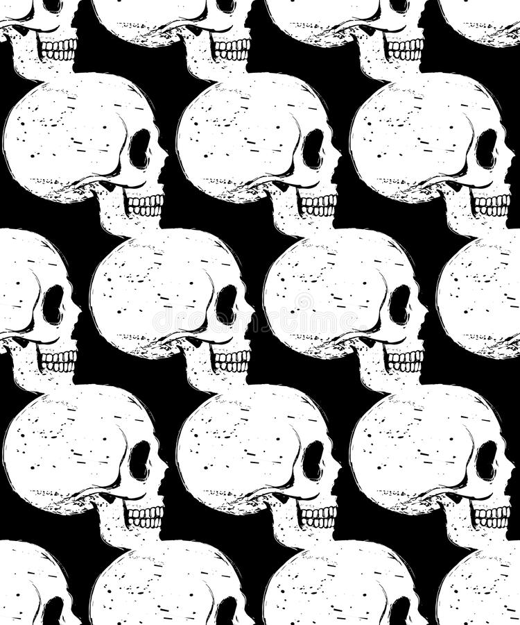 картина белого черепа Сторон-стороны безшовная иллюстрация вектора