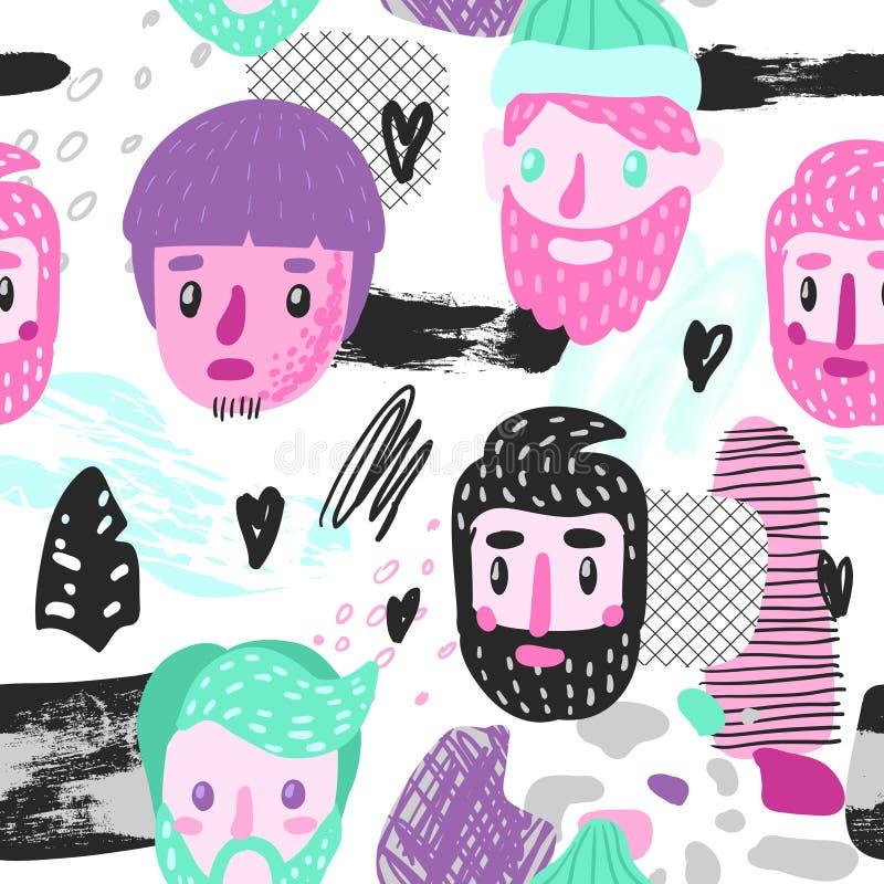 Картина битника безшовная с смешными сторонами людей Предпосылка нарисованная рукой ребяческая с абстрактными элементами для ткан иллюстрация штока