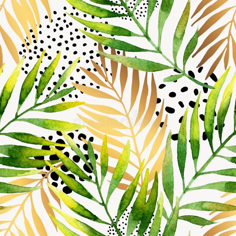 Картина ботанического лета безшовная Акварель и золотая ладонь градиента выходят предпосылка бесплатная иллюстрация