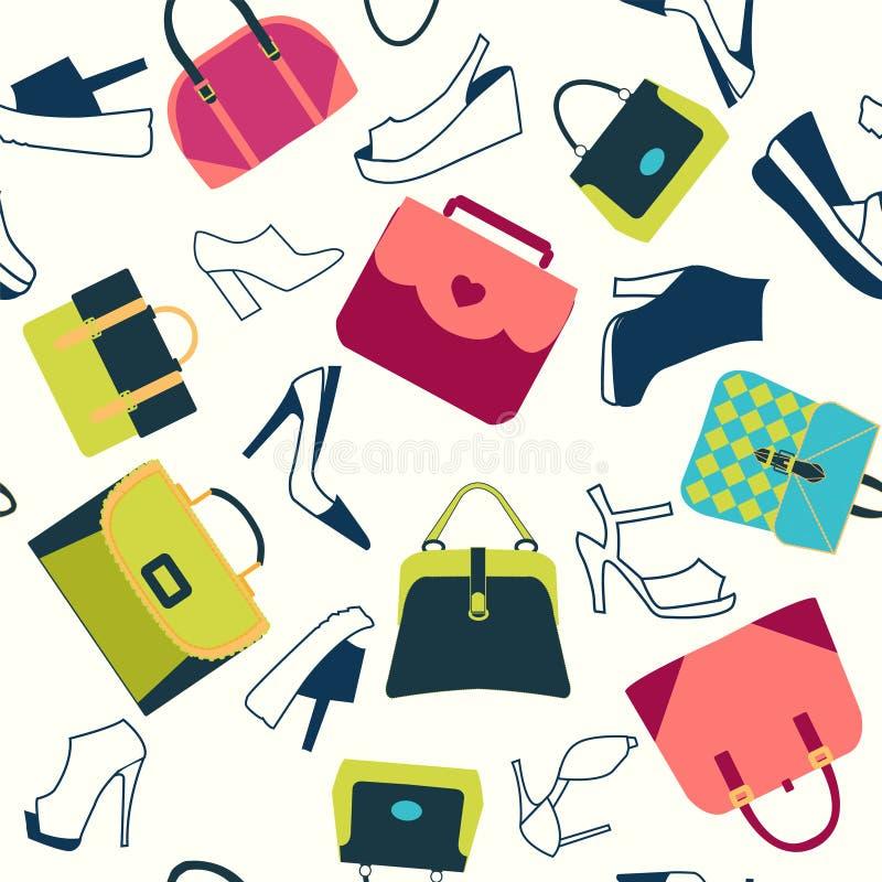 Картина ботинок сумок женщин моды иллюстрация штока