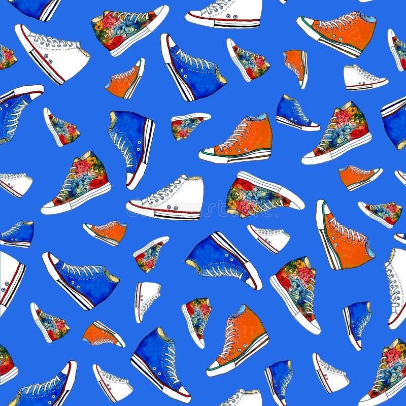 Картина ботинок тапок безшовная иллюстрация вектора