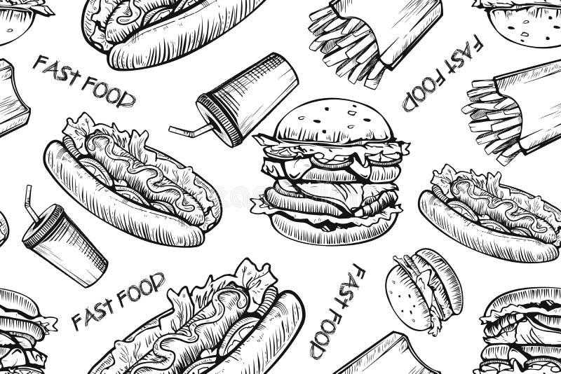 Картина бургеров безшовная на белой предпосылке Гамбургер руки вычерченный и французский картофель фри Фаст-фуд, картина высокока иллюстрация штока