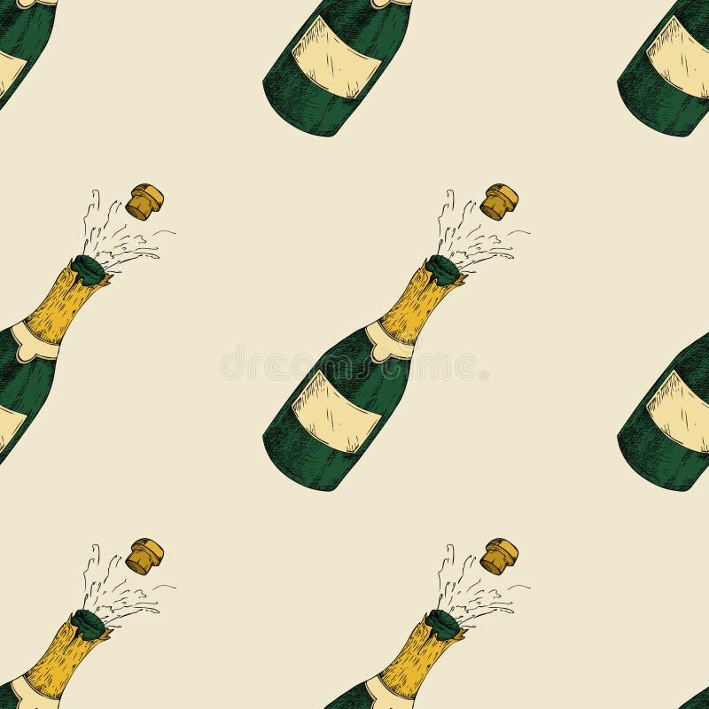 Картина бутылки Шампани безшовная Нарисованная рукой иллюстрация вектора бесплатная иллюстрация