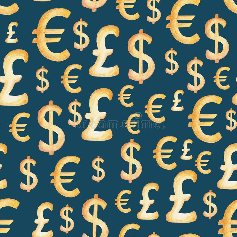 Картина валюты акварели: доллар, евро, фунт отражение дег дома имущества принципиальной схемы реальное Иллюстрация для дизайна, п иллюстрация штока