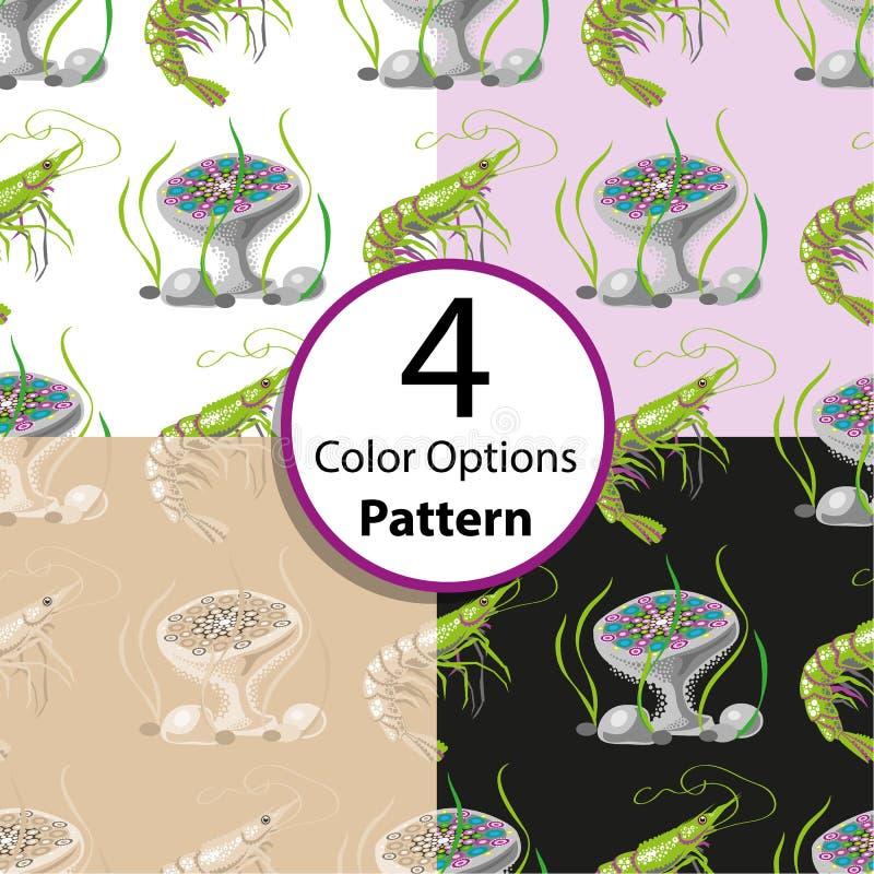 Картина 4 вариантов безшовная с креветкой и медузами иллюстрация штока