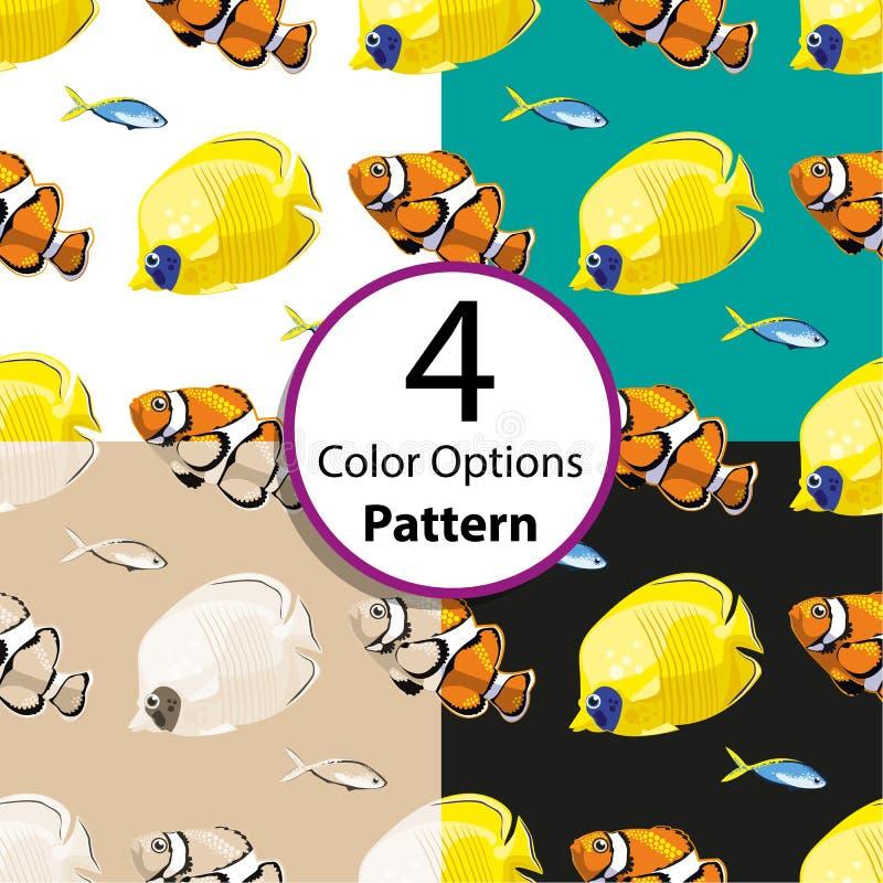 Картина 4 вариантов безшовная с тропическими рыбами иллюстрация вектора