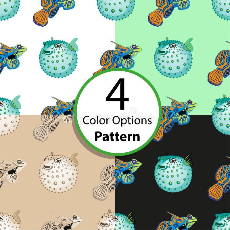 Картина 4 вариантов безшовная с тропическими рыбами бесплатная иллюстрация